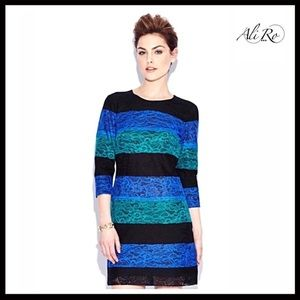 ALI RO BLACK & COBALT LACE 3/4 SLEEVES DRESS